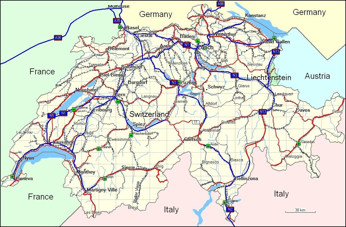 Switzerland Elevation Map.Geography Of Switzerland